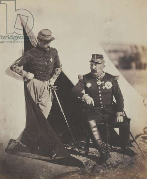 General Pierre Bosquet (1810-61) and Captain Dampierre, from an alburm of 52 photographs associated with the Crimean War (b/w photo)