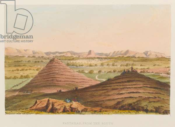 'Kandahar from the South', 1839 circa (coloured lithograph)