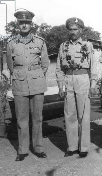 Sepoy Ali Haidar VC (right) at the Frontier Force Rifles depot, Abbottabad, 13 August 1945 (b/w photo)