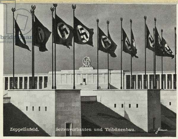 Nuremberg stadium, scene of the Nazi party rallies, postcard from a booklet depicting various views of Nurnberg, c.1938 (b/w photo)
