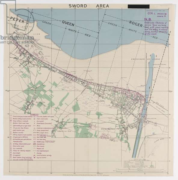 Sword Area, one of five maps illustrating the nature of German land defences along the shoreline of the D-Day landings, 1944 (colour litho)