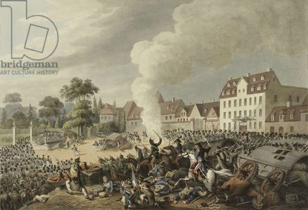 Battle of Leipzig, 16-19 October 1813, from 'An illustrated record of important events in the Annals of Europe during the years 1812, 1813, 1814 & 1815', 1815 (colour aquatint)