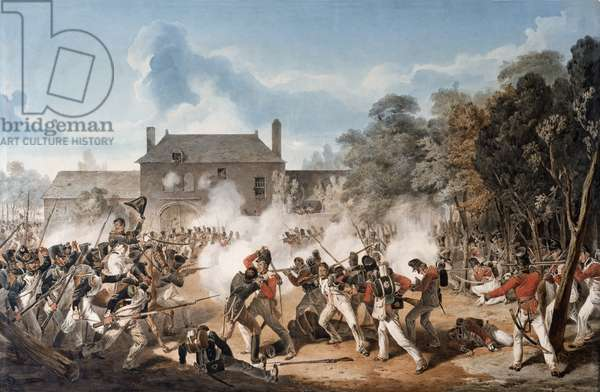 Defence of the Chateau de Hougoumont by the flank Company, Coldstream Guards 1815, 1815 (w/c on paper)