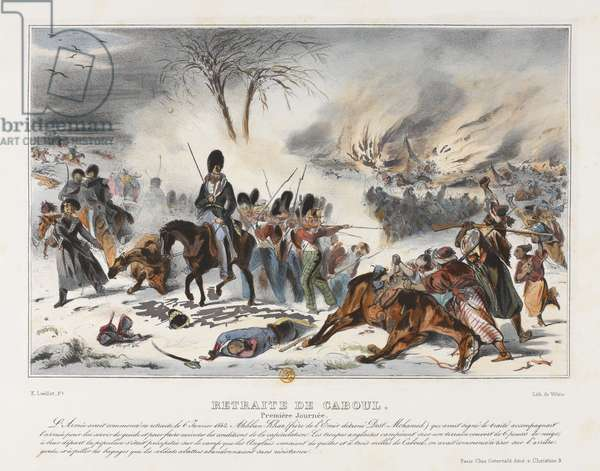 Retreat from Kabul on 6th January 1842 (colour litho)
