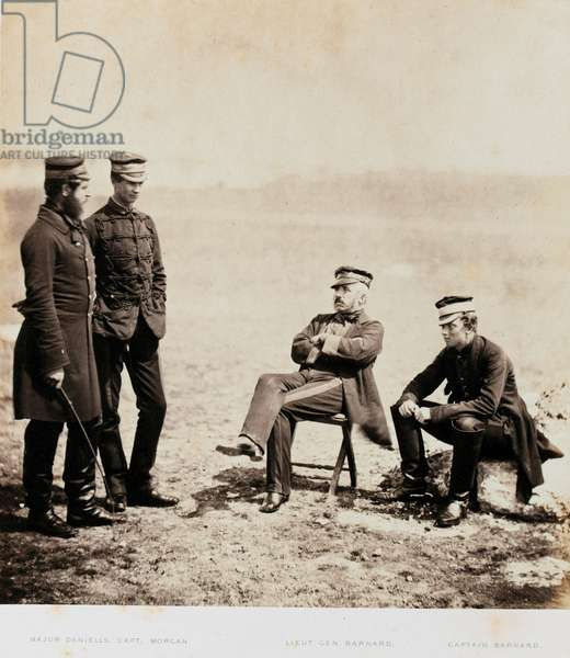 Major-General Henry William Barnard and Staff, from an album of 52 photographs associated with the Crimean War, 1855 (b/w photo)