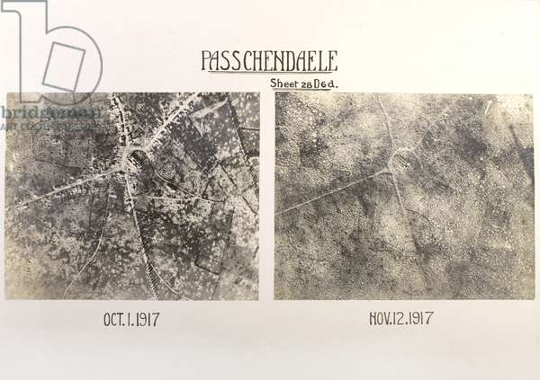 Comparative aerial photographs of Passchendaele, 1 October and 12 November 1917 (b/w photo)