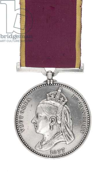 Empress of India Medal awarded to Sergeant Major J Pepper, 3rd (The East Kent) Regiment of Foot (The Buffs), 1877 (Empress of India Medal)