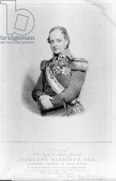 The Right Hon Lieut-General Viscount Hardinge, GCB, Governor General of India, 1846 circa (litho)