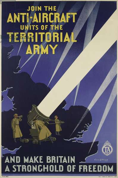 Join the Anti-Aircraft Units of the Territorial Army, 1938 (colour litho)