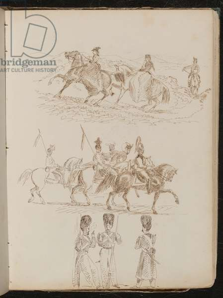 Study of two women and a man riding in hilly landscape, study of soldiers on horseback, study of three guardsmen in conversation (pen and ink)
