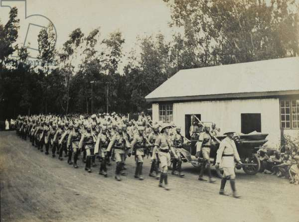 Troops of the Kings African Rifles on the march, 1916 (b/w photo)