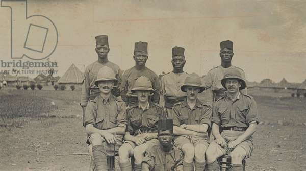 African soldiers and British officers of the West African Frontier Force, 1914 circa (b/w photo)