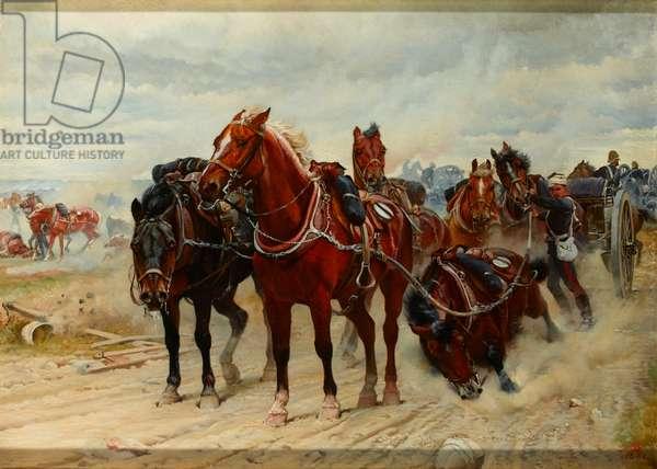 Patient Heroes, a Royal Horse Artillery Gun Team in action, 1882 circa (oil on canvas)