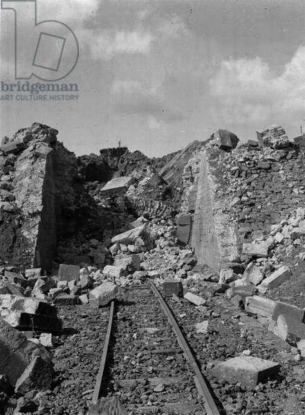 Demolished tunnel near Randazzo, Sicily, 1943 (b/w photo)