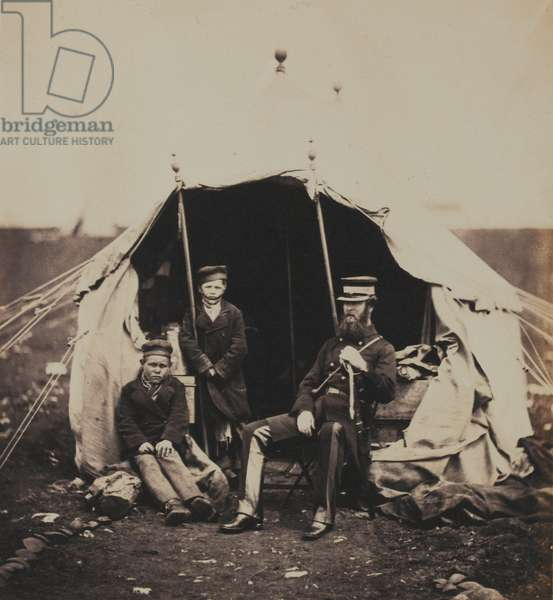 Lieutenant-Colonel Studholme Brownrigg, CB and the Russian Boys, from an album of 52 photographs associated with the Crimean War, 1855 (b/w photo)
