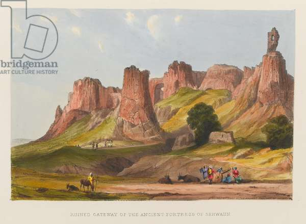 'Ruined Gateway of the Ancient Fortress of Sehwaun', 1838 circa (coloured lithograph)