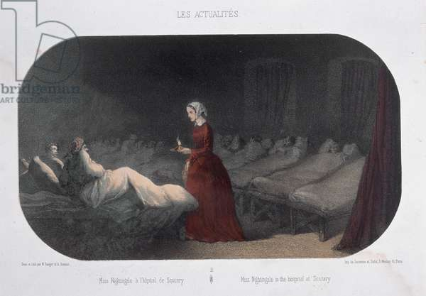 Miss Nightingale (1820-1910) in the hospital in Scutary during the Crimean War, 1856 (colour litho)