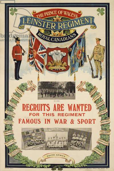 The Prince of Wales's Leinster Regiment Royal Canadians recruitment poster, c.1920 (colour litho)