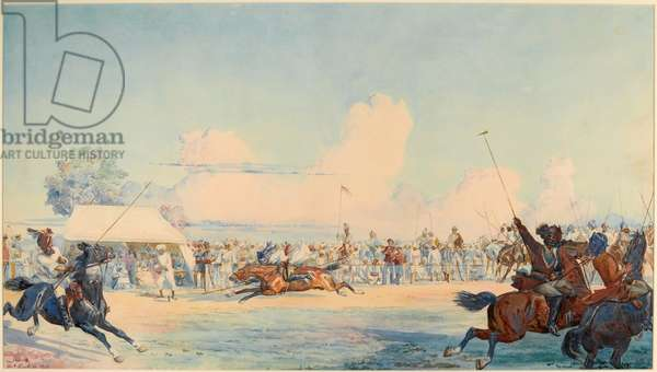 10th Bengal Lancers Tent-pegging competition, 1873 (w/c)