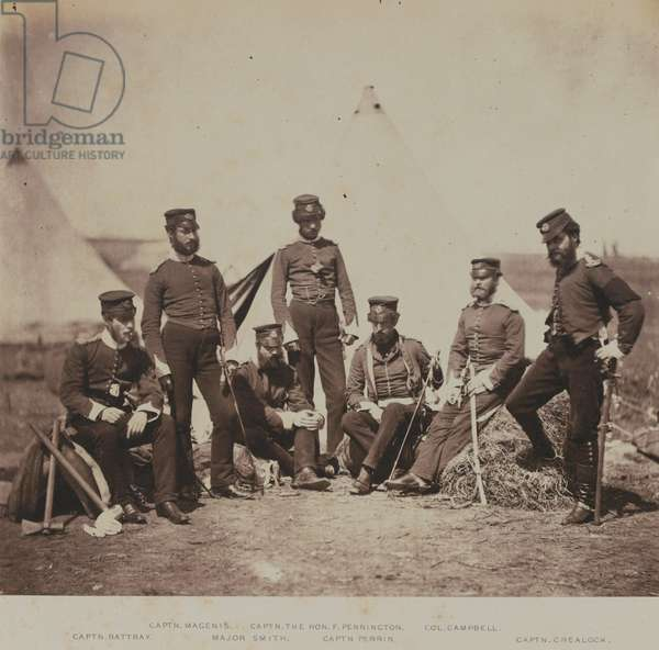 Officers of the 90th (Perthshire Volunteers) (Light Infantry) Regiment of Foot, from an album of 52 photographs associated with the Crimean War, 1855 (b/w photo)