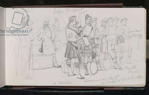 'On parade. Drummers of the 79th. A sketch at Parkhurst', 1873 (pencil)