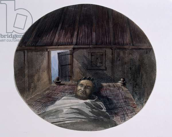 'King Theodore taken soon after death, the original drawing done by me at Magdala', 1868 (w/c)