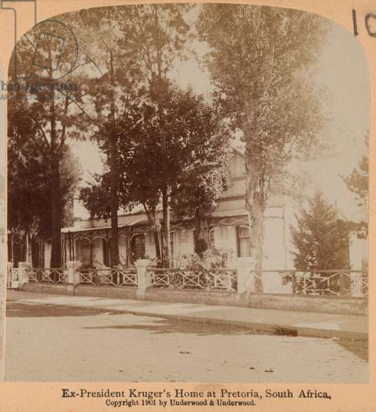 President Kruger's Home at Pretoria, South Africa, 1901 (b/w photo)