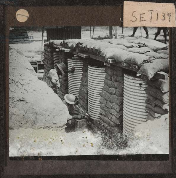 Collecting water on the Somme, August 1916 (lantern slide)