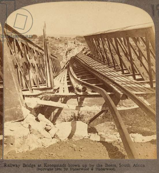 Wrecked railway bridge across the Valsch River, Boer War, 1901 (b/w photo)