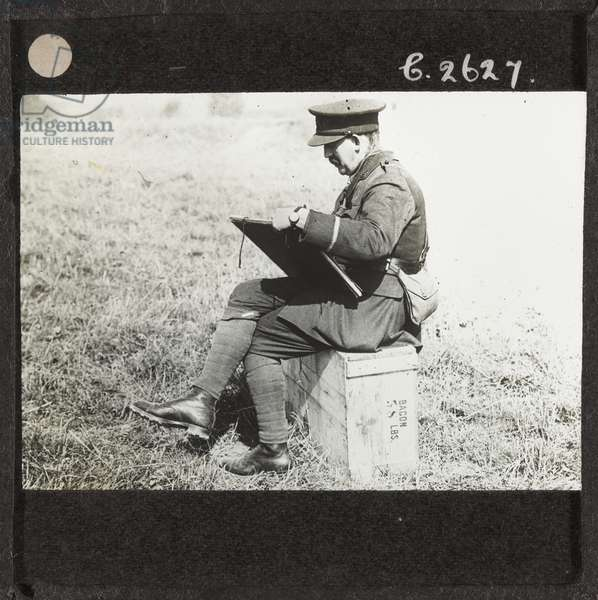 Second Lieutenant Muirhead Bone sketching Becordel, 21 September 1916 (lantern slide)