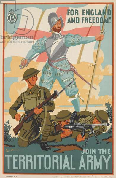 For England and Freedom! Join the Territorial Army, 1938 (colour litho)