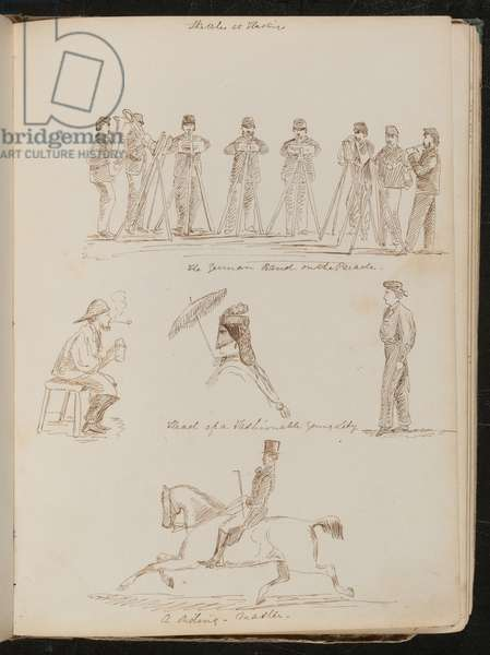 'German Band on the Parade', study of a seated man with tankard and pipe, 'Head of a fashionable young lady' and 'a riding-master' (pen and ink)
