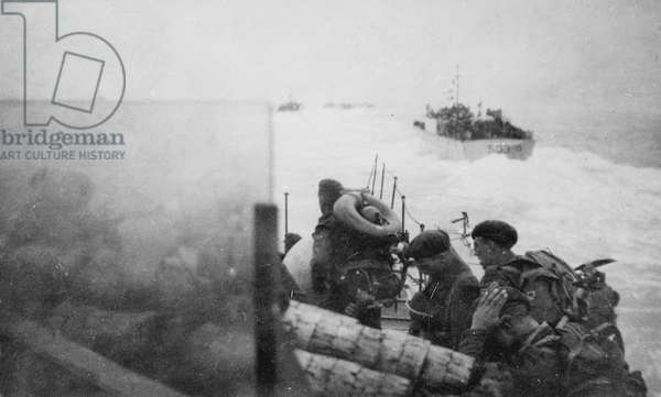 British troops in landing craft approach Sword Beach near Ouistreham, 6 June 1944 (b/w photo)