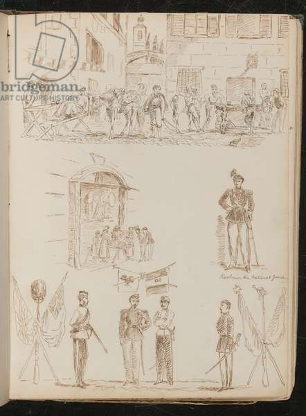 A town scene with soldiers drinking, study of a market stall, study of a Piedmontese national guard, study of four soldiers and crossed flags (pen and ink)