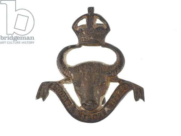 Cap badge, Coorg and Mysore Rifles, 1933-1947 (metal)