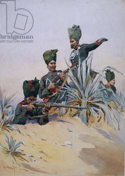 Soldiers of the 125th Napier's Rifles, illustration from 'Armies of India' by Major G.F. MacMunn, published in 1911, 1908 (w/c on paper)