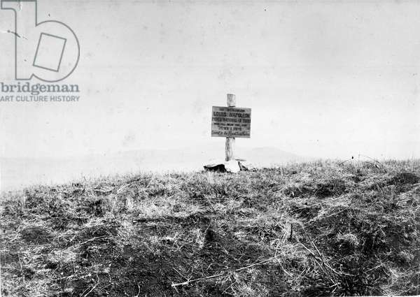 Board erected by the Royal Scots Fusiliers to mark the spot where the Prince Imperial fell, 1879 (b/w photo)