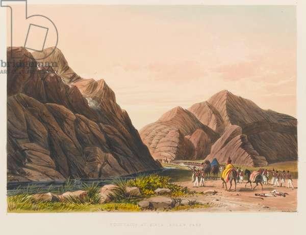 'Mountains at Zirta Bolan Pass', 1839 circa (coloured lithograph)