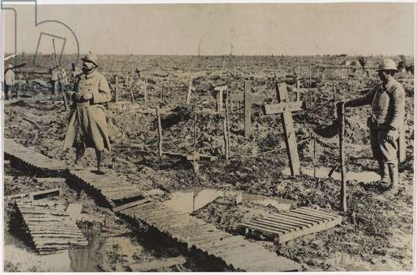 Graveyard at Passchendaele, 1917 (b/w photo)