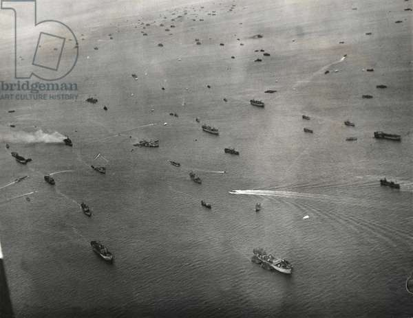 Flying over the Channel the W.A.A.F. Nursing Orderlies had a good view of Allied shipping lying off the landing beaches, June 13th, 1944 (b/w photo)