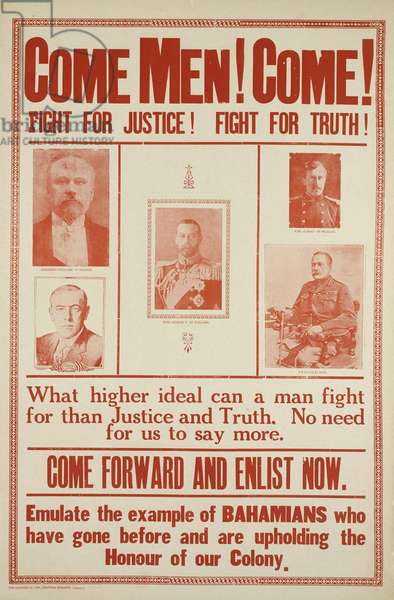 Come Men! Come! Fight for Justice! Fight for Truth! 1914-18 (colour photolitho)