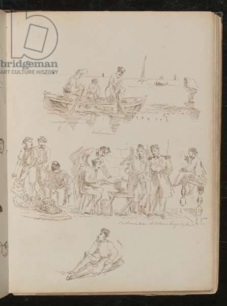 Three figures in a rowing boat inscribed 'Fishermen', market scene with eight figures inscribed 'Piedmontese soldiers buying fruit' (pen and ink)