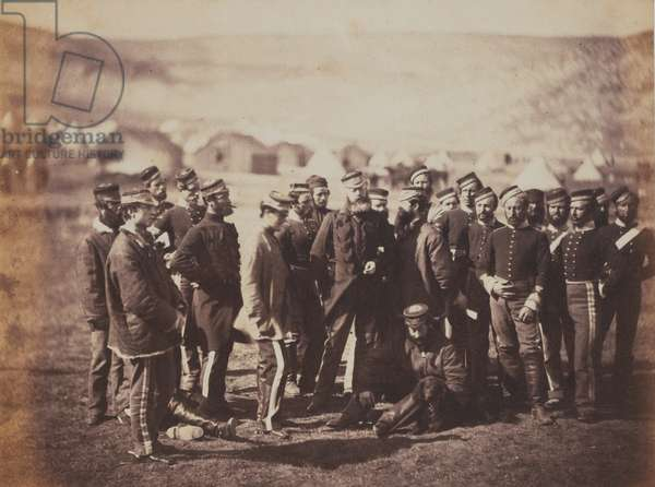 Colonel Doherty, Officers and Men of the 13th Regiment of Light Dragoons, from an album of 52 photographs associated with the Crimean War, 1855 (b/w photo)