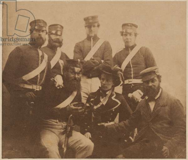 Two officers and four men with cantiniere, Crimea, 1855 (b/w photo)