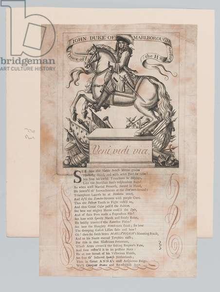 'John Duke of Marlborough Prince of the H. Empire', 1710 circa. (line engraving)