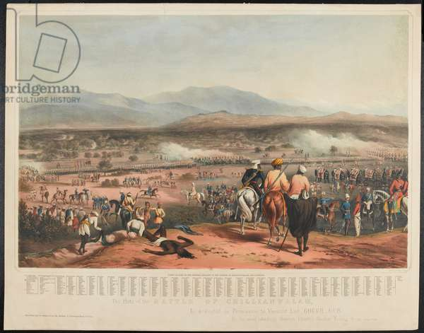 Battle of Chillianwala on the 13th of January, 1849 (colour litho)