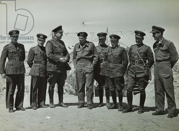 General Montgomery (1887-1976) with British and Allied officers, 1943-44 (b/w photo)