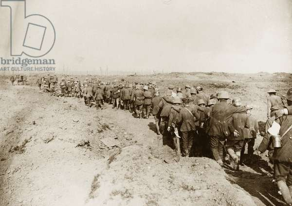 'German prisoners of war captured during the battle of the Menin Road', 1917 (b/w photo)
