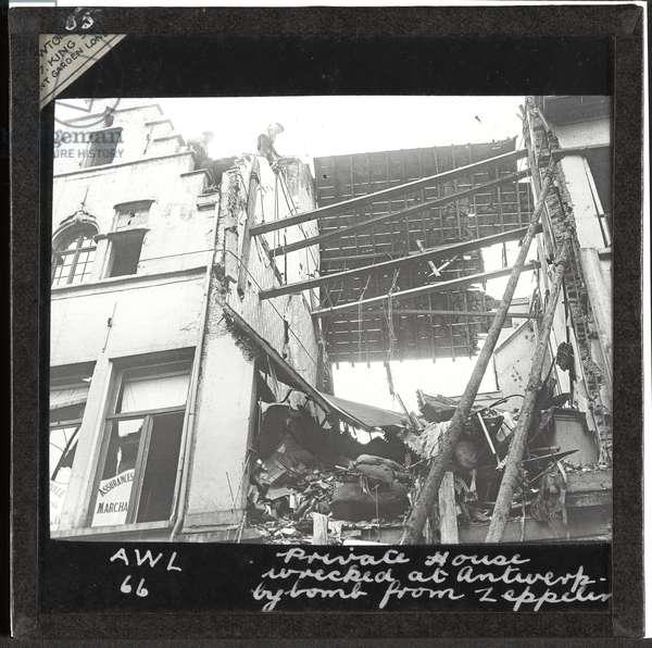 House wrecked at Antwerp by Zeppelin raid, 1914 (lantern slide)