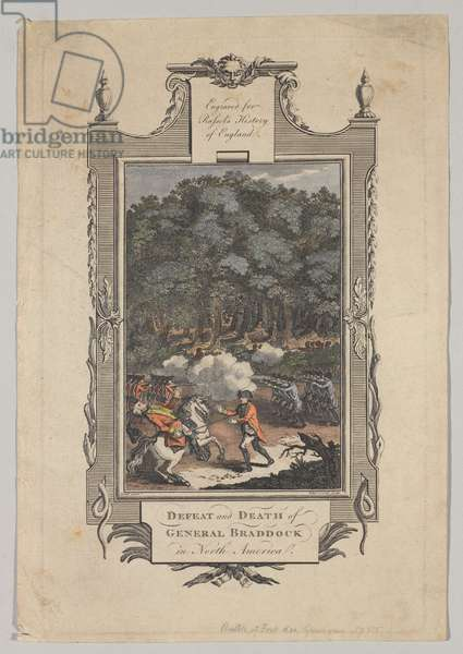 The defeat and death of General Braddock in North America, 1755 (line engraving)